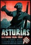 Juliste joka juhlistaa Asturialaisia kaivosmiehiä, jotka perustivat hetkeksi vallankumouksen hallinnon lokakuussa 1934 ennen kuin kenraali Francisco Franco murskasi sen julmasti.