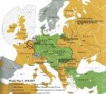 Kartta Ensimmäisestä Maailmansodasta Euroopassa